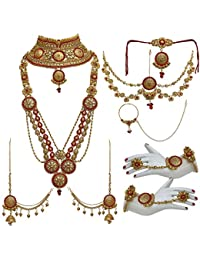 Lucky Jewellery Bridal Golden Red Color Alloy Gold Plated Wedding Jewellery Set For Girls & Women - B07CKN78GW