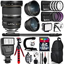Canon EF-S 10-22mm USM Lens + Flash + 0.43X Wide Angle Lens + 2.2X Telephoto Lens + LED Kit + Video Stabilizing Handle + UV-CPL-FLD Filters + Macro Filter Kit - International Version - B075JMS2SN