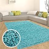 Teppich Shaggy Hochflor Langflor Flokati Einfarbig/ Uni aus Polypropylen in Türkis für Wohn- und Schlafzimmer, Größe: 140 x 200 cm
