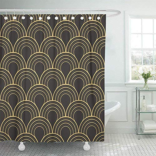 60X72 inch Shower Curtain Waterproof Nouveau Antique Palette Twenties Vintage Pattern Roaring Gatsby 30S Abstract Angular Home Decor Polyester Fabric Adjustable Hook ()