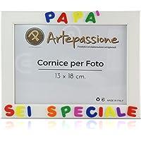 Cornici per foto in legno con la scritta Papà Sei Speciale, da appoggiare o appendere, misura 13x18 cm Bianca. Ideale…