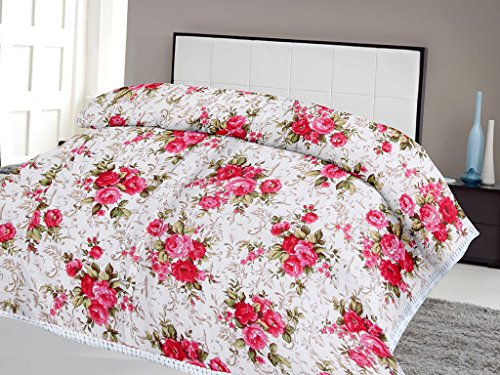 Lali Prints Pink Floral with Leaves quilt A.C Blanket Double...