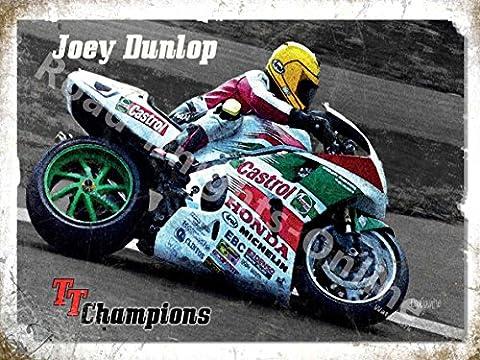 Joey Dunlop Honda Moto TT Champion de l'île de Man Race Panneau mural en métal/acier, Acier, 30 x 20 cm