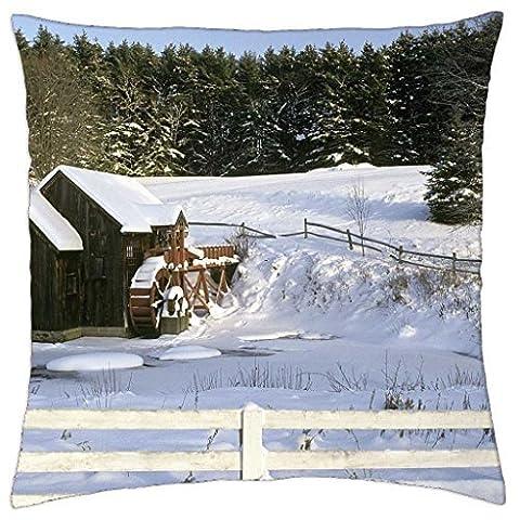 Grist Mill en hiver–Housse étui couverture Taie d'oreiller (45,7x (Grist Mill)