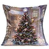 Sunnywill Taies d'oreiller en Lin de Noël Joyeux, Sofa Coussin Décoration de la Maison Taie d'oreiller