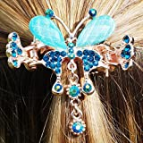 Butterfly Hair Clip Butterfly Hairclip Diamante Hair Claw Clip Crystal Hair Clip Wedding Hair Clip Hair Grip Girls Hair Accessory Rose Gold Hair Clip