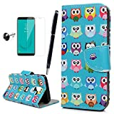 MOTIKO Samsung Galaxy J6 2018 Case PU Leather Wallet Case Flip Cover Viewing Stand & Card Slots with Dust Plug & Stylus & Screen Protector for Samsung Galaxy J6 2018 - Owls