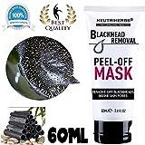 Maschera nera al carbone attivo, da staccare, per la pulizia profonda della pelle, rimuove punti neri, acne, purificante, crema per naso e viso, da 50 ml.