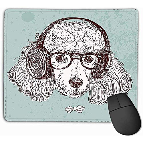 Mousepad rutschfeste Gummi personalisierte einzigartige Gaming-Mauspad 30 X 25 cm handgezeichnete Mode Portrait Pudel -