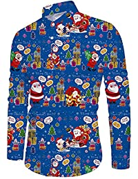 Funnycokid Hombre Camisa Impreso Manga Larga con Botón Fiesta Estilo Hawaiana Navidad Camisas