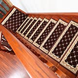 Escaleras automáticas de un solo pedazo, libres de la escalera Paso Mat Cuadrado Piso lleno Escalera de madera maciza Alfombra Estera antideslizante ( Color : 2# , Tamaño : 30*100cm )
