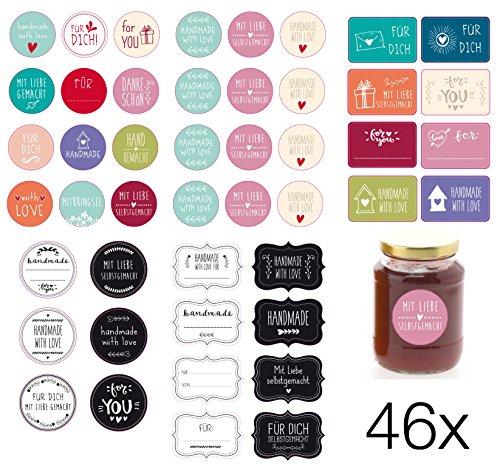 46x Sticker Etiketten selbstklebend Geschenkaufkleber Aufkleber Handmade handgemacht Danke Motiv zur Dekoration von Geschenken, Gläser, Marmeladenglas Marmelade, Einmachgläser, Haushaltsetiketten