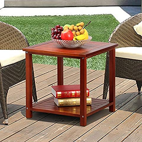 Popamazing 2 Tier Solid Wood Small Square Sofa Side End Table with Lower Storage Shelf Slats Table Top Living Room Furniture ( Brown