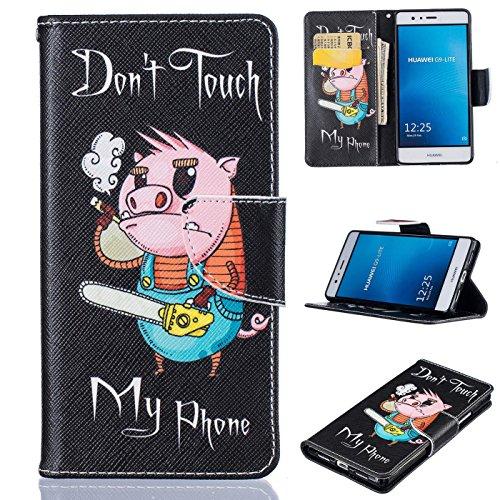 Huawei P9Lite Fall, firefish Synthetik Leder Wallet [Kartenfächer] Ständer Magnetic Clip rutschfest Stoßdämpfung Schale Bumper passgenau für Huawei P9Lite Huawei P9 Lite schwein