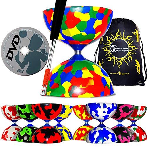 JESTER Profi Diabolo Set (8 Designs) mit Diabolo Alu Handstäbe und Diaboloschnur + Erfahren Diabolo Tricks DVD (auf Deutsch) & Flames N Games Reisetasche. (Multi Farbe)
