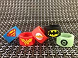 VAPE Bands ( PACK OF 3 RANDOM DESIGN ) 19 mm x 12 mm New Batman Superman Flash Wonder Woman Green Lantern Glow in the Dark für RTA RDA ZERSTÄUBERN uksellingsuppliers