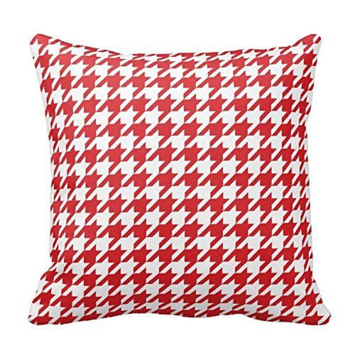 Juzijiang Red Houndstooth Pattern Throw Pillow Square Pillow Case Cushion Cover20X20 inch Houndstooth Swing