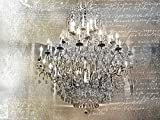 #5: Silver Gold Chandelier - Fine Art Print on Fine Art Canvas - PRINT ON canvas stretched Gallery wrap style READY TO HANG - Image size is 30 x 48 inches Inch