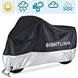 """Motorcycle Cover, SIGHTLING All Season 210D Waterproof Motorbike Covers with Lock Holes, Fits up to 96.5"""" Motors, for Honda,"""