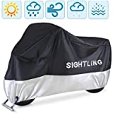 Motorcycle Cover, SIGHTLING All Season 210D Waterproof Motorbike Covers with Lock Holes, Fits up to 96.5' Motors, for…