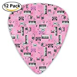 Listen To Music Theme Vintage Cassettes Headphones Keyboards Funky Guitar Picks 12/Pack Set