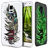 Galaxy S5 Hülle,Galaxy S5 Neo Hülle,Galaxy S5/S5 Neo Schutzhülle,Bunte Gemalt Muster [Leuchtend Luminous] Handyhülle TPU Silikon Hülle Handy Hülle Case Tasche Schutzhülle für Galaxy S5,Bunte Feder