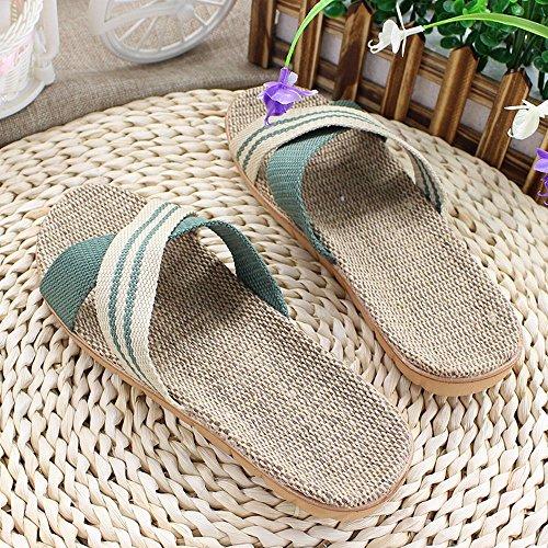 Primavera striature aperte sandali di lino ciabatte uomo e donna accoppiano scarpe da casa,un,37-38