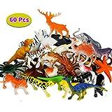 BBLIKE Dschungel Tiere Figur Mini-Dinosaurier-Set und Meerestiere Figur , 60 Stück Kunststoff lebensechte Wildtiere und Kleinen Farm Spielzeug Dekoration für Kinder Geburtstag Party Geschenkset