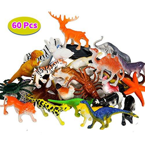 BBLIKE Dschungel Tiere Figur Mini-Dinosaurier-Set und Meerestiere Figur , 60 Stück Kunststoff lebensechte Wildtiere und Kleinen Farm Spielzeug Dekoration für Kinder Geburtstag Party