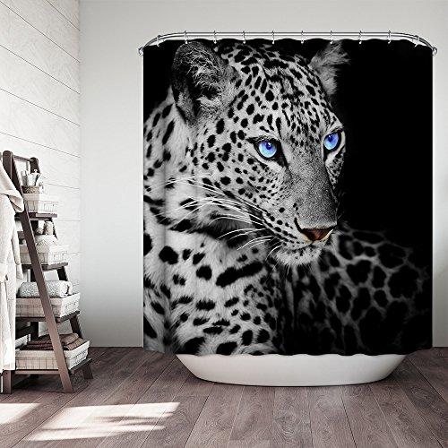 MIWANG Amerikanische und europäische Tier leopard Duschvorhang, Badezimmer wasserdicht Anti-schimmel Vorhänge Vorhänge an den Fenstern, mit 12 Haken, W180*H 180 cm, 100% Polyester Produktion