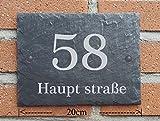 Casa in ardesia naturale Targa fuori porta numero civico | 20x 15cm, resistente alle intemperie | con Plastic soffitto