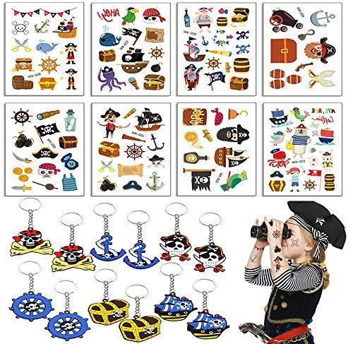 ReNice 20 Stück Piraten Party Set, Kindergeburtstag Mitgebsel - Piraten Schlüsselanhänger, Piraten Temporäre Tattoo für Junge Mädchen (Piraten Gesichts Tattoo Set)