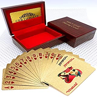 500 EURO Gold Foil Gold Plated Poker Playing Cards Deck Waterproof Durable Golden Poker Cards Magic Playing Cards Set with Deluxe Wooden Box Perfect for Gift
