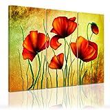 Kunstdruck - Mohnblumen - Bild auf Leinwand - 120x80 cm 3tlg - Leinwandbilder - Urban & Graphic - Pflanzen - Blumen - Klatschmohn - Feldblume