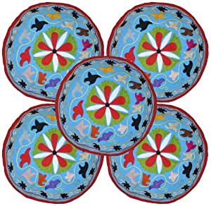 Cotton Multi Thread Embroidery Round Cushion Covers 18 Inches Set 5 Pcs