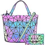 Hot One Handtasche Damen Geometrische Reflektierende Umhängetasche Geldbeutel Damen Taschen Set