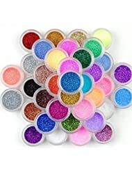 45pots de paillettes de couleurs mélangées Prochive art sur ongles maquillage décoration poussière poudre extra fine bout des ongles lot (45pièces)