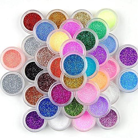 Prochive 45-teiliges Farben-Set für Nageldekoration / Nail Art, extra feiner Glitzerstaub, viele verschiedene Farben im Sortiment