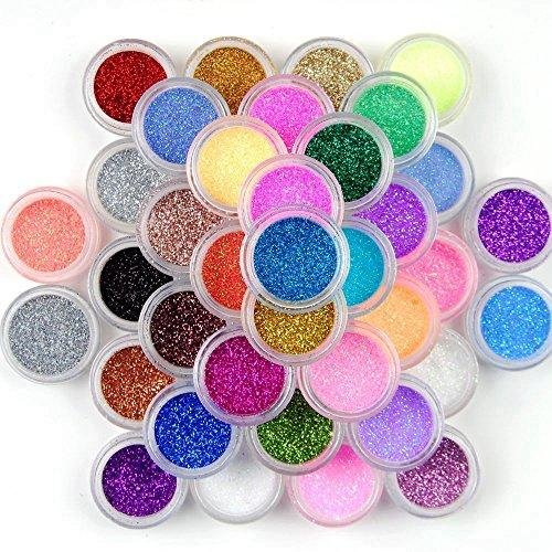45 pots de paillettes de couleurs mélangées Prochive art sur ongles maquillage décoration poussière poudre extra fine bout des ongles lot (45 pièces)