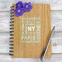 A5 Travel Note Book, Zeitschrift mit gravierten Holzabdeckungen (gefüttert oder einfache Seiten) - City Design