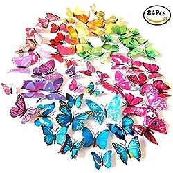 Meown® 84 Pezzi 7 colori 3D Adesivi Murali Farfalle in plastica con magneti Adesivi da Parete per Casa Camera Decorazione