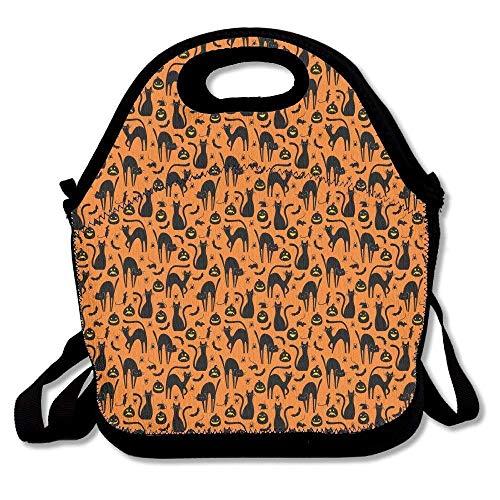 CHI Halloween-Katzen-Geschenk, große und Dicke Neopren-Lunch-Taschen, isoliert, warm, mit Schultergurt, für Damen, Teenager, Mädchen, Kinder, Erwachsene