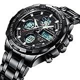 Herren Uhren Digital Männer Militär Schwarz Sport Wasserdicht LED Chronograph Groß Edelstahl Armbanduhr Mann Multifunktions Stopuhr Datum Wecker Analoge Digitale Uhr