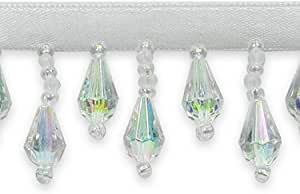 10 yd Crystal Aurora Borealis Expo International Velma Beaded Raindrop Fringe Trim