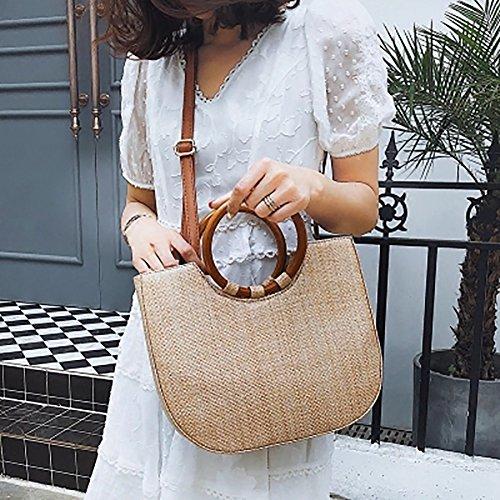 Yunt Bambus Handtasche, Strand Handtasche Halbmond Tasche, Hölzerne Reise Sling Bag Schulter Umhängetasche für Frauen (Halbmond-tasche)