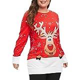 YWLINK Mode Pullover Damen Weihnachten Elch Schneeflocke Drucken Oben O Kragen Sweatshirt Bluse