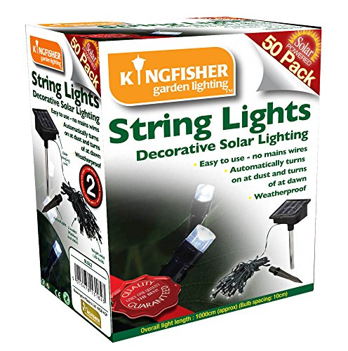 Kingfisher 50 White LED Solar String Lights 2
