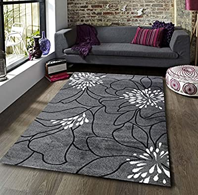 New Blossom Grey Black White Extra Large Quality Home Rug - inexpensive UK light store.