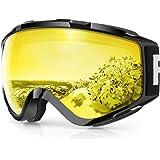 findway Gafas de Esquí, Máscara Gafas Esqui Snowboard Nieve Espejo para Hombre Mujer Adultos Juventud Jóvenes OTG Compatible