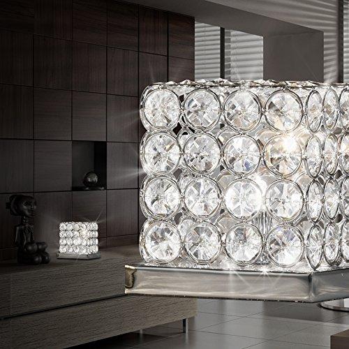 - Chrom-kristall-tisch-lampe (MIA Light Kristall Würfel Tisch Leuchte ↥145mm/ Kristall/ Modern/ Chrom/ Nacht Lampe Kristalllampe Kristallleuchte Nachttischlampe Nachttischleuchte Tischlampe Tischleuchte)